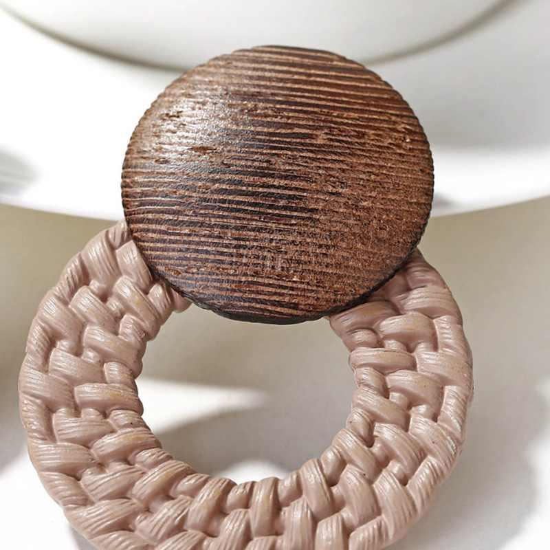 Деревянные серьги из ротанга, серьги-гвоздики для женщин и девушек, ручная работа, подвеска в виде капли, бамбуковые погремушки, Висячие ювелирные изделия для свадебной вечеринки
