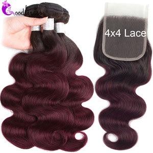 Пупряди омбре с застежкой, волнистые предварительно окрашенные перуанские пряди волос с застежкой, 4x4 1B 99J пряди человеческих волос с застеж...