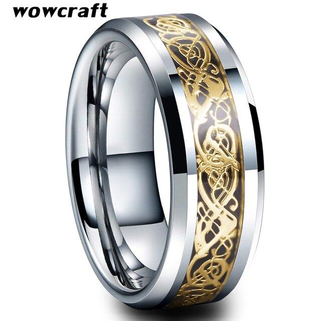 Anel de carboneto de tungstênio incrustado de fibra de carbono preto das mulheres dos homens bordas chanfradas polido ouro dragão aniversário casamento anéis