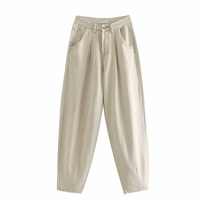 Women Loose Mom Jeans Fahion Long Khaki Pants  Streetwear Washed Pockets Cowboy Pants Casual Ladies Denim Pants Trousers Bottoms