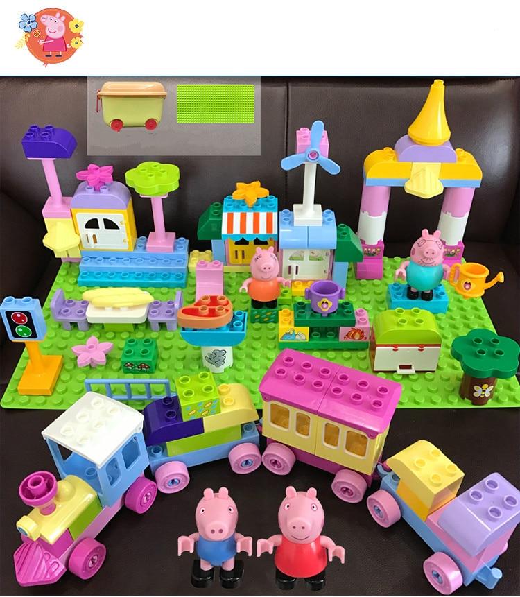 Genuine Peppa Pig Building Blocks Set Kids Train Toys With 4 Dolls Children Birthday Toy Brick Building Block Table
