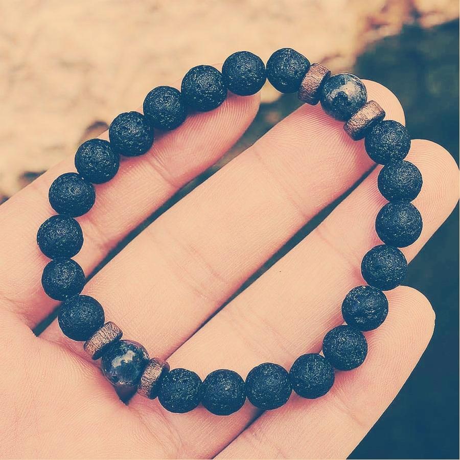 Fashion Lava Stone Bracelet Men Natural Moonstone Bead Chakra Bracelet Male Charm Diffuser Bracelets Heren Armband Jewelry Gift 4