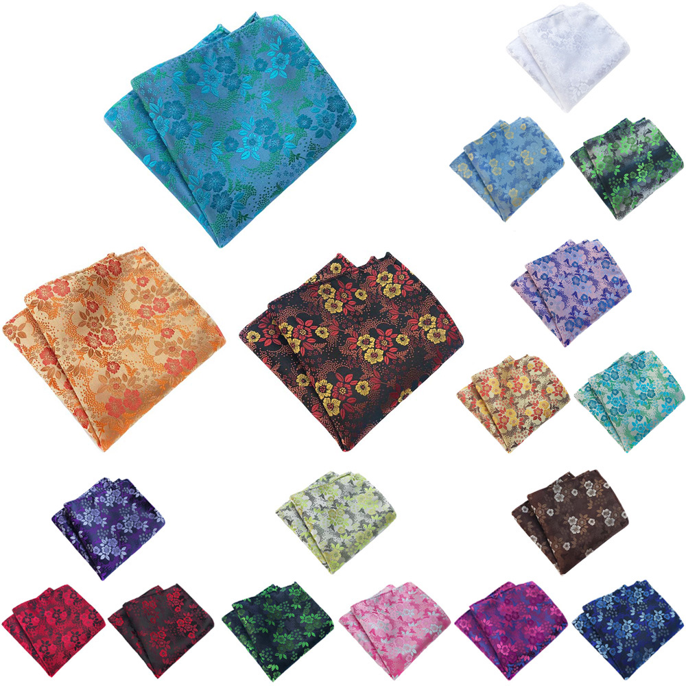3 Packs Men Classic Flower Pocket Square Colorful Handkerchief Wedding Hanky HZTIE0359