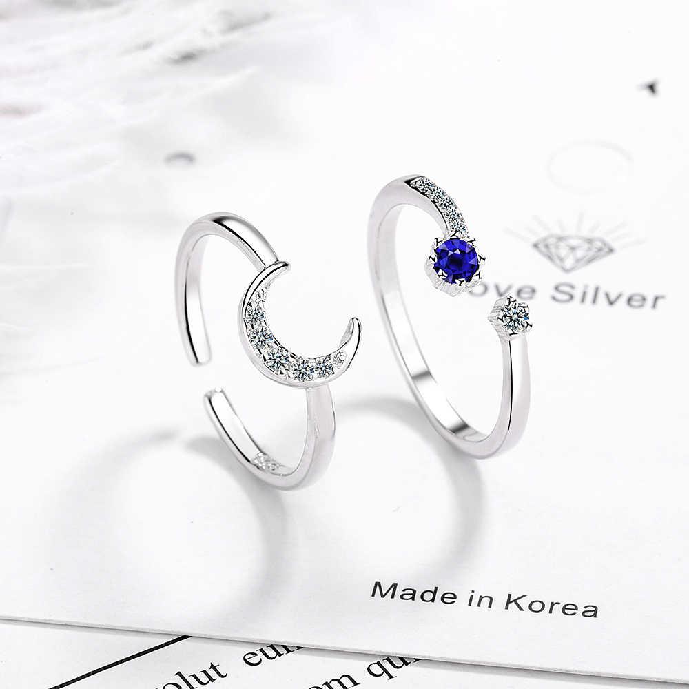 925 пробы, серебряные, синие, циркон, луна, звезда, регулируемые кольца, штабелируемые двойные кольца, ювелирные изделия, Юбилейный браслет для женщин, S-R484