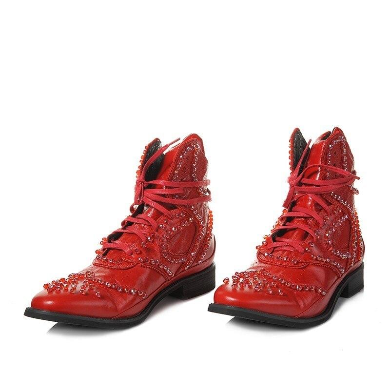 Hiver britannique bottes hommes Designer cristal perlé Vintage bottines pointues en cuir véritable Punk chaussures noir haut baskets - 5