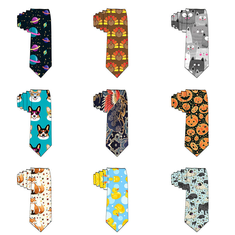 New Design Tie For Men Polyester Necktie Cute Dog Printed Casual Fashion Party Casual Slim Wedding Gravata Funny Ties