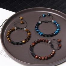 Bracelets en pierres oculaires de tigre Chakra naturelles, 8mm, bijoux en hématite à facettes pour hommes, en corde noire ajustable à la main