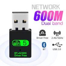 Dwuzakresowy Adapter USB Wifi 600 mb/s Bluetooth 802.11ac Mini Adapter Wifi przenośna karta sieciowa 2.4G/5GHz karta bezprzewodowa PC/Loptop