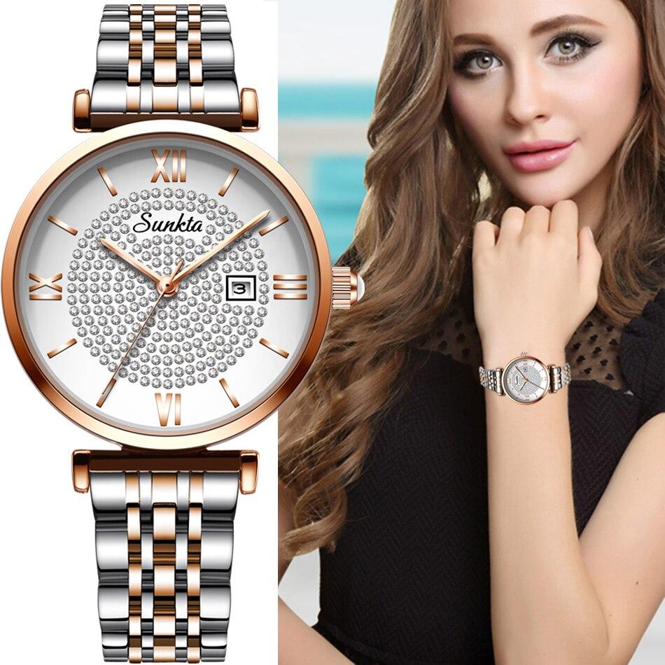 2020 New sunkta women watch luxury steel belt wristband fashion watch women mineral glass mirror casual waterproof quartz watch|Women's Watches| - AliExpress