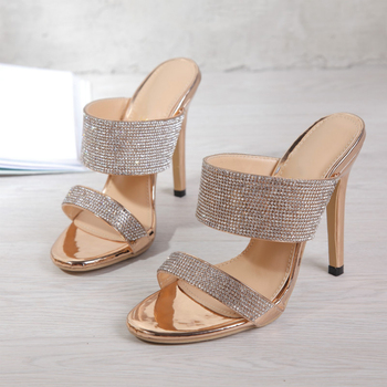 Fashion Rhinestone Plus Size 35-42 Women's Slippers Sandals 2020 Summer Shallow Stiletto High Heels Ladies Slides Women's Shoes 3