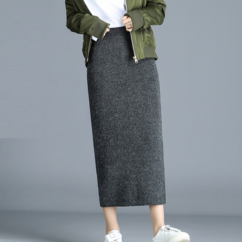 Winter Thickening Wool Blend Split Mid Knitted Skirt Cashmere Warm Hip Slim Mid-calf Knit Skirts 2 Length 4 Colors 2