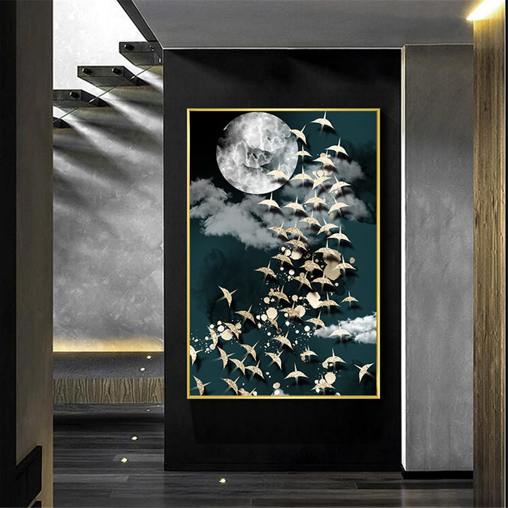 Wall Art Canvas Painting Wild Goose Birld Print Posters Moon Gold Abstract Decor Picture Geometric Landscape Mural Home Decor