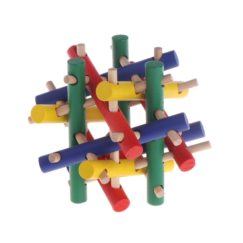Pet Toy Colorful Wood Safety Knot Nibbler Chew Bite For Rabbit Animal Kid Adults