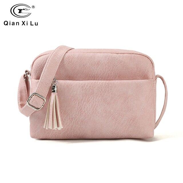 Qianxilu 2019 ใหม่ผู้หญิงขนาดเล็กกระเป๋าสะพายกระเป๋า Messenger กระเป๋าสุภาพสตรีกระเป๋าหนัง PU กระเป๋าถือกระเป๋าซิปหญิง Crossbody กระเป๋า