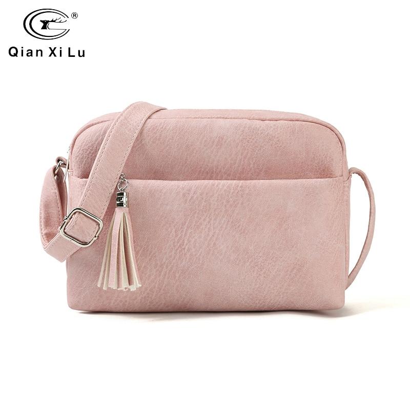 Qianxilu 2019 New Women's Small Shoulder Tassel Bags Messenger Bag Ladies PU Leather Handbag Purse Female Zipper Crossbody Bag