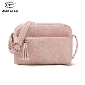 Image 1 - Qianxilu 2019 New Womens Small Shoulder Tassel Bags Messenger Bag Ladies PU Leather Handbag Purse Female Zipper Crossbody Bag