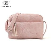 Qianxilu 2019 جديد المرأة الصغيرة الكتف شرابة حقائب حقيبة ساعي السيدات بولي Leather حقيبة يد جلدية محفظة الإناث سستة حقيبة كروسبودي