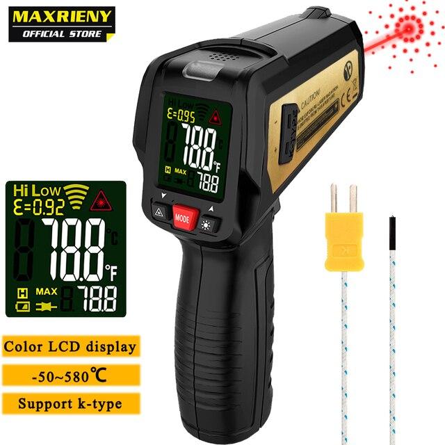 אינפרא אדום מדחום MAXRIENY BTM11 ללא מגע IR הדיגיטלי Pyrometer טמפרטורת מטר נקודת אקדח 50 ~ 580 תואר + מעורר + צבע