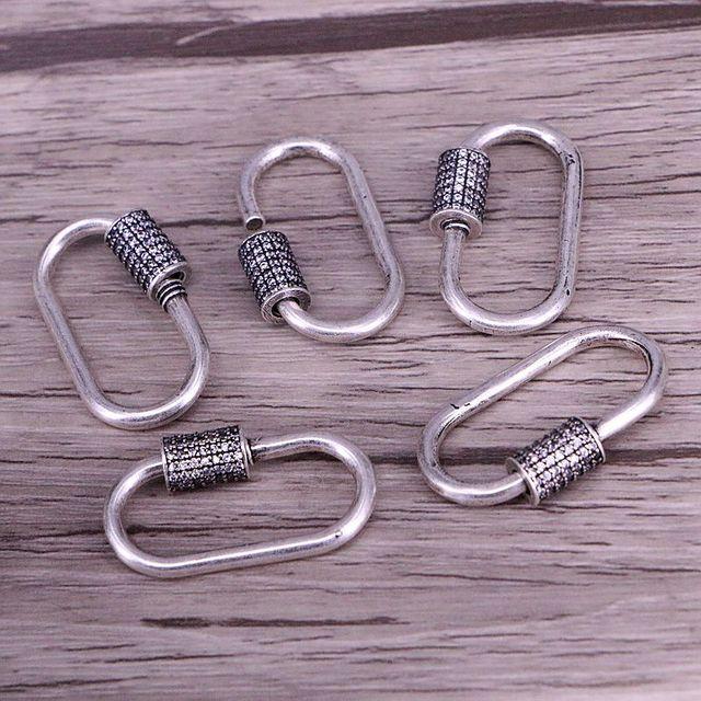 5 Pcs, Karabijnhaak Antiek Zilver Kleur Connector Sluiting Micro Pave Cz Vintage Sluiting Voor Sieraden Maken