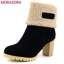 MORAZORA 2020 플러스 사이즈 48 여성 발목 부츠 플록 라운드 발가락 두꺼운 모피 스노우 부츠 빈티지 하이힐 겨울 신발 여성
