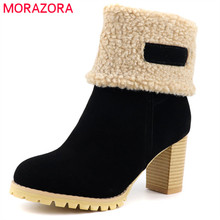 MORAZORA 2020 de talla grande 48 mujeres botines flock punta redonda gruesa botas de nieve de piel vintage tacones altos zapatos de invierno Mujer