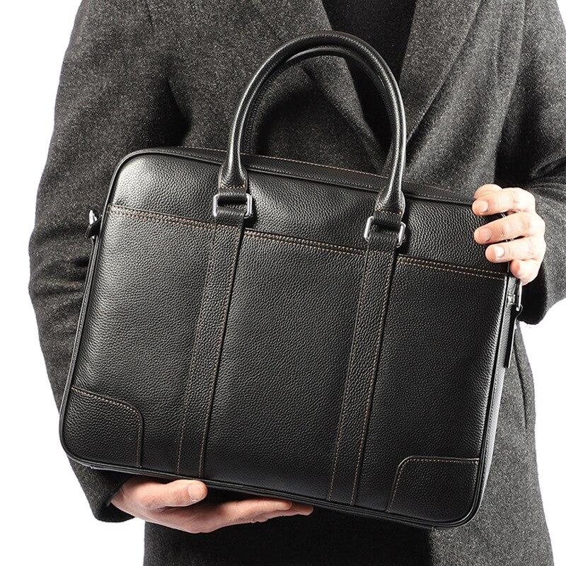 Designer Brand Luxury Men Business Bag Genuine Leather Briefcase Mens Messenger Bag Computer Laptop Shoulder Bag Office Handbag