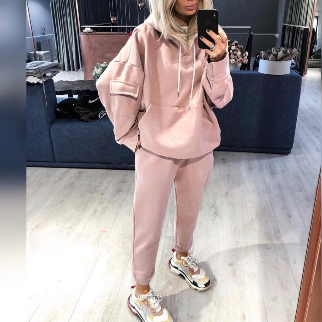 Tracksuit Women 2020 New Women's Cotton-blend Sports Casual Hoodie And Pants 2 Piece Set Women