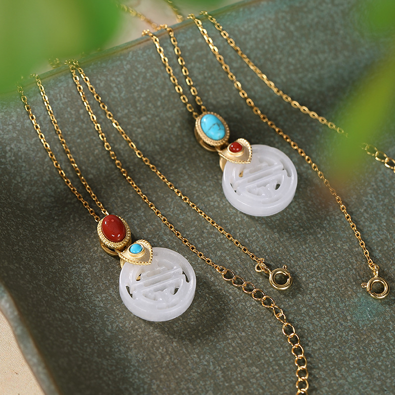 Yiluyin S925 pure silver gold-plated Hetian Yunan red pendant retro high grade safety button women's sweater chain