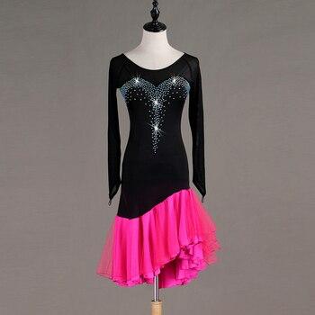Customization Latin Dance Dresses Women's Training / Performance Spandex / Tulle Crystals / Rhinestones Long Sleeve High Dress