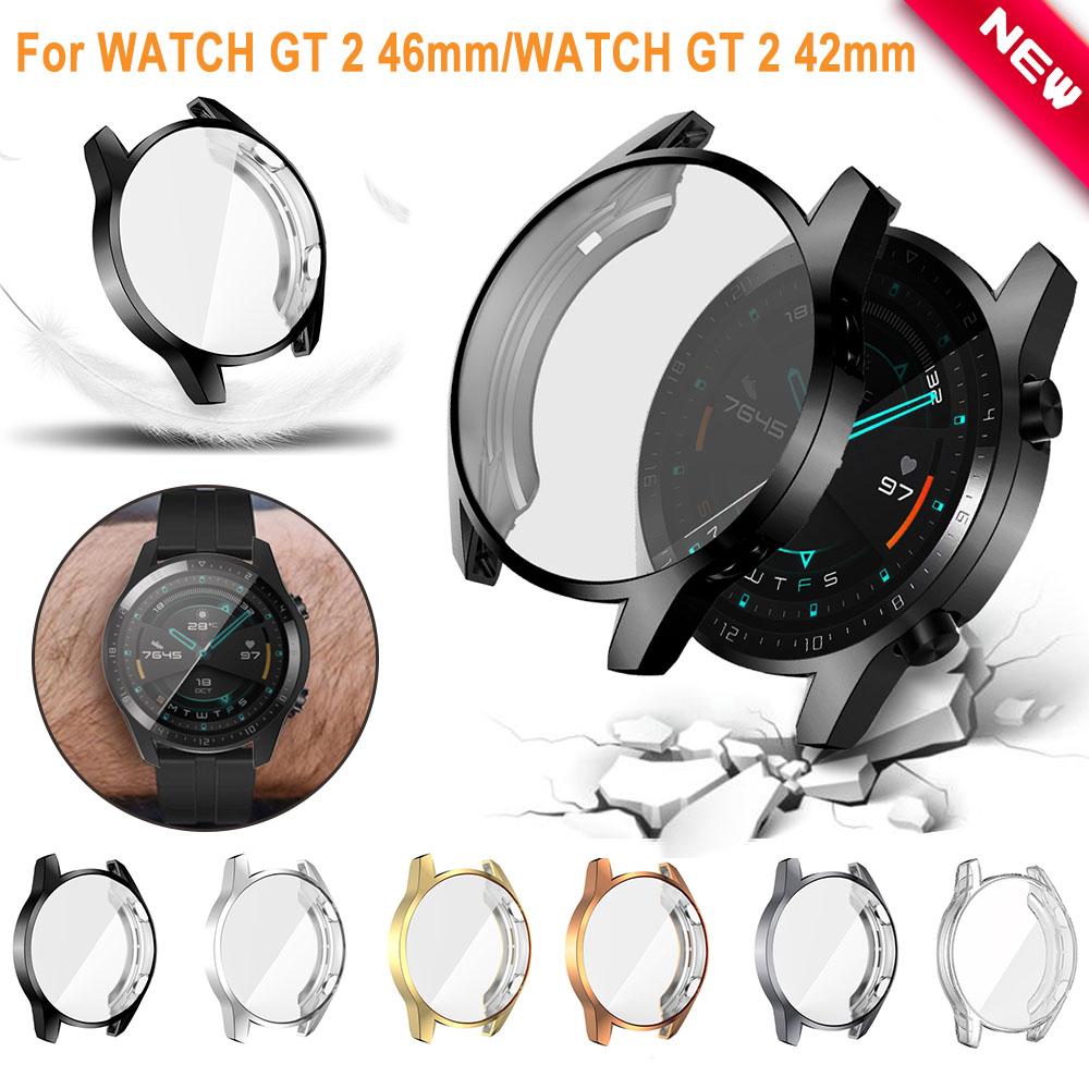 2PC Soft Ultra-Slim TPU Protection Silicone Full Case Cover For Huawei Watch GT 2 Replacement Case Strap Smart Watch Accessories