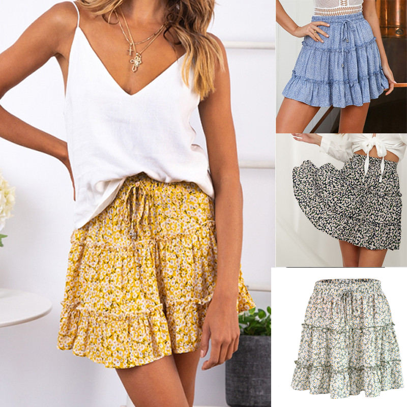 Women skirt High Waist A Line Women Bohemian floral Elastic Summer Beach Short Skirt Streetwear Korean Fashion Kawaii