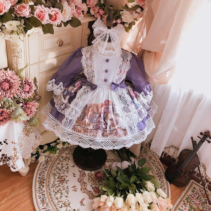 2PCS Summer Purple Lolita Spanish Princess Ball Gown Turke Dress For Bady Girls Half Sleeves Birthday Party Lace Dress 1-9Y Cute