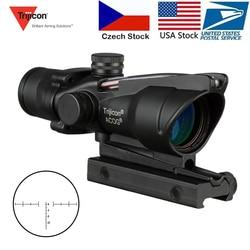 Trijicon ACOG 4X32 Berburu Riflescope Nyata Serat Optik Grenn Red Dot Diterangi Chevron Terukir Reticle Taktis Pemandangan Optik