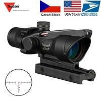 Trijicon ACOG 4X32 lunette de chasse vraie Fiber optique Grenn point rouge illuminé Chevron gravé réticule tactique optique vue