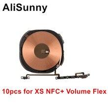 AliSunny 10 قطعة شحن لاسلكي رقاقة NFC لفائف مع حجم الكابلات المرنة آيفون X XR XS ماكس شاحن لوحة ملصق WPC الوسادة أجزاء