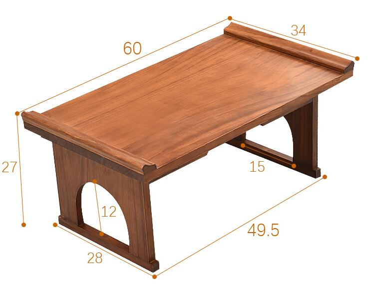 Asian Wood Furniture Korean Dining Table Folding Leg Rectangle Living Room Coffee Table For Tea Traditional Floor Table Foldable