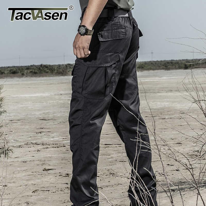 TACVASEN التكتيكية السراويل الرجال القطن مستقيم متعدد جيب العمل البضائع السراويل الطويلة العسكرية الجندي القتالية بنطلون سراويل تقليدية الرجال