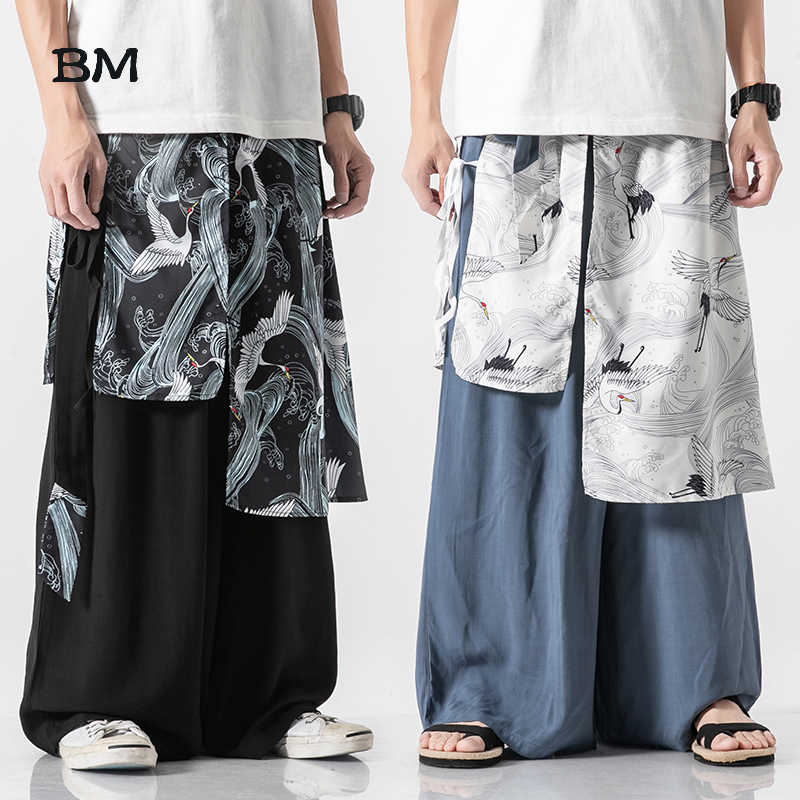 Chinese Style Elegant Cotton And Linen Pants Fashion Wide-Leg Pants Men Comfortable Skirt Pants Ancient Loose Large Size Hanfu