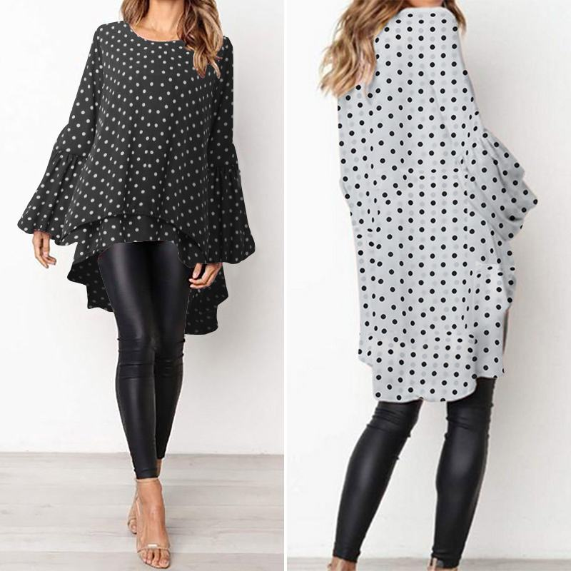 Stylish Tunic Tops Women Polka Dot Pinted Blouse ZANZEA Casual High Low Irregular Shirts Spring Long Sleeve Ruffles Hem Blusas 7