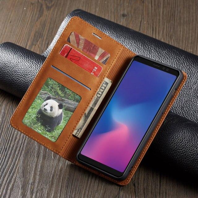 โทรศัพท์หนัง Flip สำหรับ Samsung Galaxy A8 2018 Magnetic กระเป๋าสตางค์การ์ด GalaxyA8 SM A530 A530F SM A530F ขาตั้ง