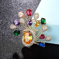 Zlxgirl AAA cubic zircon peacock animal wedding bridal Jewelry for women fashion brooch pendant jewelry Clothes Suit Accessories