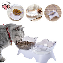 Double Pet Bowl Non-Slip Cat Bowls With Raised Stand White Cute Cat Dog Feeder Food And Water Bowls Pet Product Protect Cervical