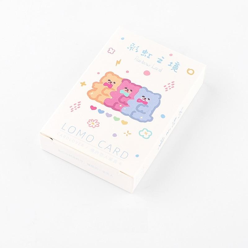 28 Pcs/Set Creative Rainbow Land Lomo Card DIY Cartoon Mini Postcard Birthday Letter Gift Card Message Card 52*80mm
