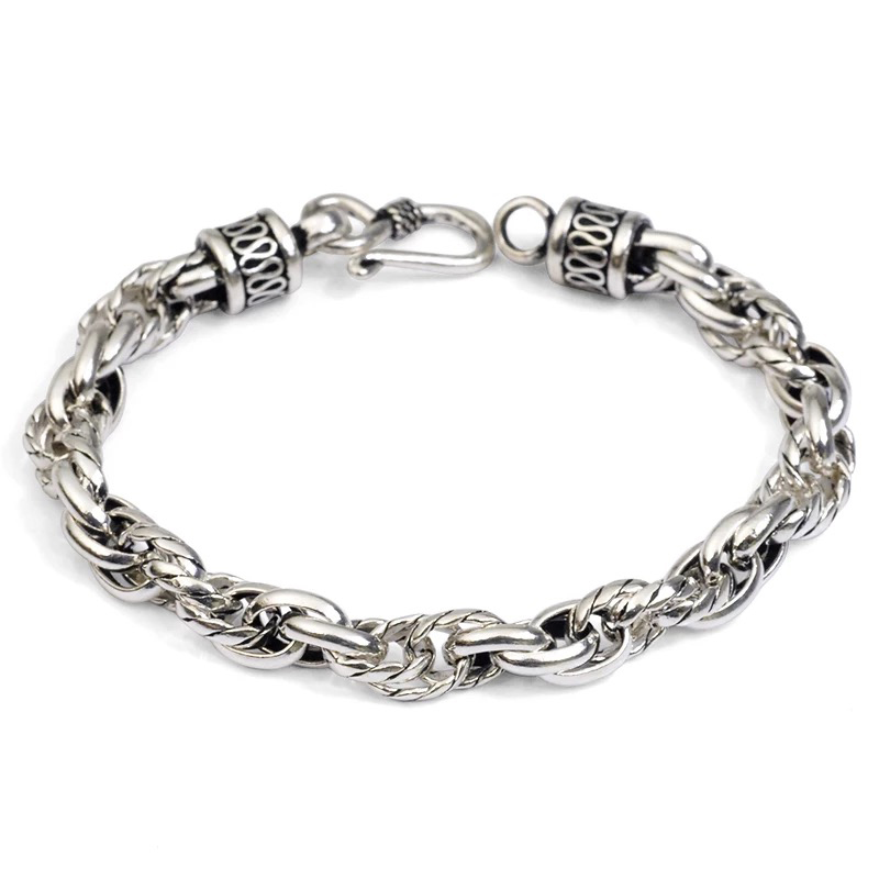 925 sterling silver Chain Link bracelets vintage jewelry thai antique saint silver jewelry bracelet hand chain