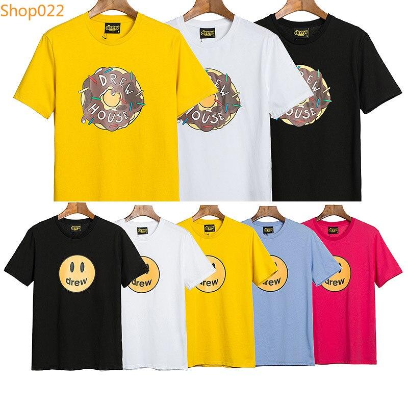 Justin Bieber T Shirt Drew House T-shirt Men Casual Oversize High Street Top Tees Smiley