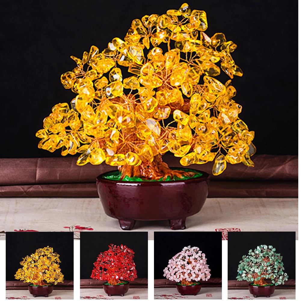 Colorido cumpleaños buena suerte cristal dinero árbol casa Mini ornamento Feng Shui Bonsai estilo Oficina Sala Mesa Decoración 6 unids/lote atrapasoles de cristal Feng Shui prismas colgante péndulo colgante decoración de ventana 20mm