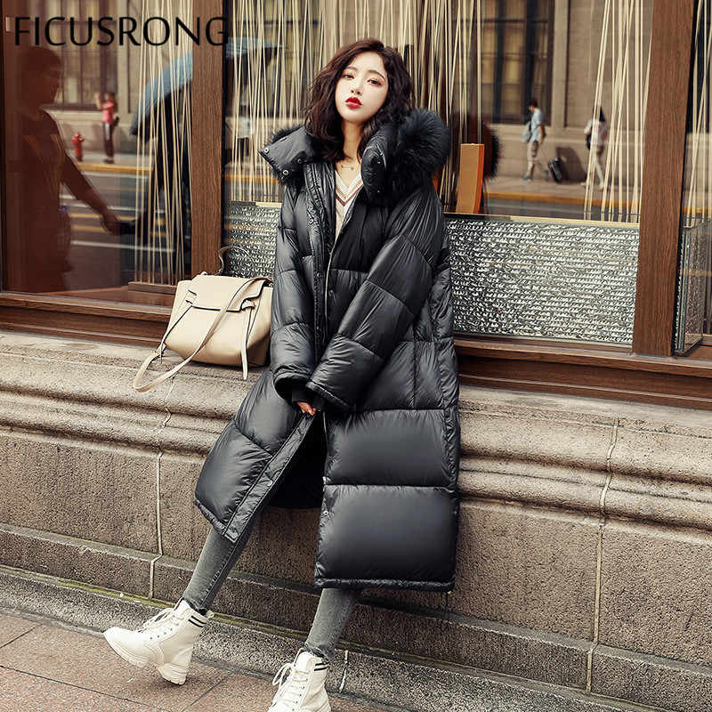 FICUSRONG Long Glossy Black Down Parkas Womens Winter Jackets Coats Cotton Padded Warm Thicken Big Fur Collar Ladies Coats