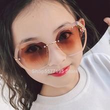 Child Cute Round Rimless Frame Sunglasses Children Kids Gray Pink Red Lens 2020