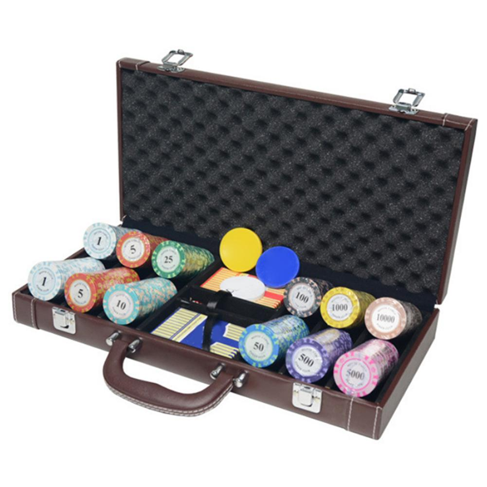 Casino Texas Poker Chip Case Container Box Portable Game Chip Case Perfect For Texas Hold Em Parties Vehicle Kit PU Leather Box