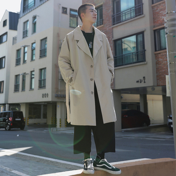 2019 Autumn British Style Men's Clothing Solid Color Trench Loose Jacket Long Windbreaker Overcoat Cotton 5 Color Coat Size S-XL